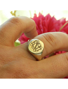 Signet Ring 14k Gold Filled Ring Personalized Engraved Ring Monogram Rings Bridesmaid Gift Personalized Gift Monogram Ring Jewelry by Etsy
