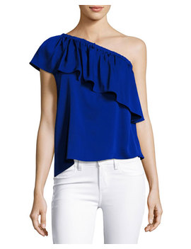 Ruffled One Shoulder Stretch Silk Top, Cobalt by Milly