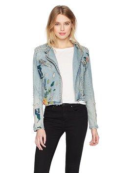 [Blanknyc] Women's Embroidered Denim Moto Jacket Outerwear, Sea Of Flowers by %5 Bblanknyc%5 D