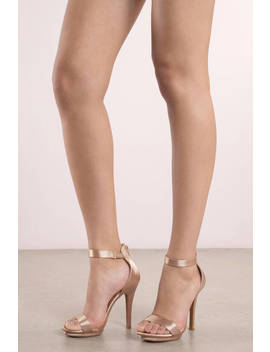 Amy Champagne Satin Ankle Strap Heels by Tobi