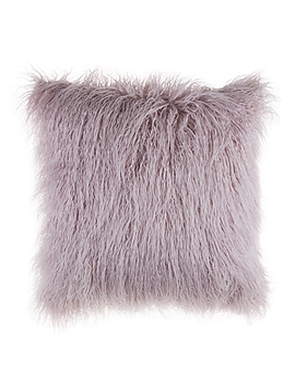 Mongolian Faux Fur Square Throw Pillow In Rose by Bed Bath And Beyond
