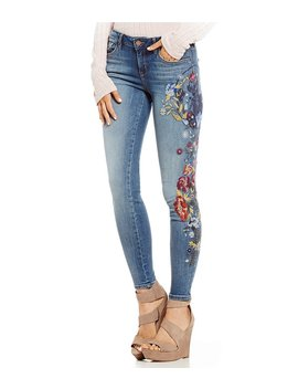 Embroidered Perfect Skinny Jeans by William Rast