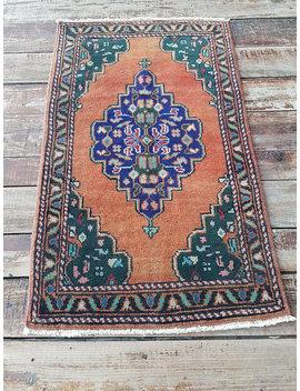 1'8'' X 2'9'' Turkish Small Rug, Yastik Rug, Vintage Oushak Rug, Worn Anatolian Small Carpet by Etsy