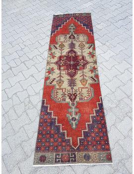 2.5 X 8.6 Vintage Distressed Runner Rug,Turkish Rug Runner,Low Pile Worn Runner Carpet,Hallway Runner, Kitchen Rug,Faded Oushak Runner by Etsy