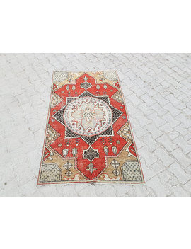 3'4 X 5'5'' Vintage Oushak Rug, Low Pile Super Qality Oushak Rug, Turkish Handmade Rug, Lovely Colored  Carpet, Distressed Oushak Rug, Rugs by Etsy