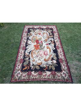 7'4'' X 12' Vintage Kilim Rug, Large Size Old Floral Kilim Rug, Antique Kilim Rug, Distressed Kilim Rug, Vintage Rug by Etsy