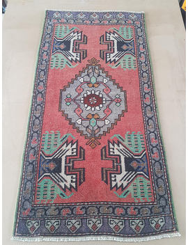 "1'9"" X 3'5""  Small Rugs, Mat Rugs, Doormat Rugs, Entryway Rugs, Area Rugs, Turkish Rugs, Vintage Rugs, Knotted Rugs, Turkish Yastik Rug by Etsy"