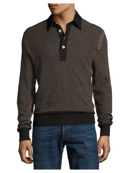Textured Jacquard Polo Sweater, Black/Tan by Tom Ford