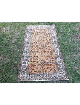"Vintage Oushak Rug, Turkish Rug, Low Pile Oushak Rug, 3'8"" X 6'7"" Distressed Carpet by Etsy"