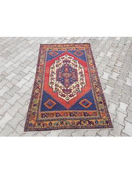 4'1'' X 6'8'' Vintage Oushak Rug, Vintage Faded Color Oushak Rug, Distressed Turkish Rug, Carpet, Low Pile Worn Oushak Rug by Etsy