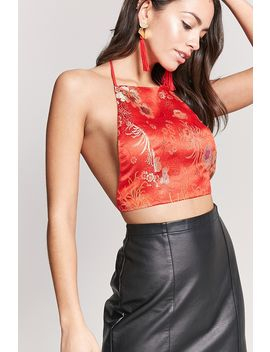 Satin Floral Halter Crop Top by F21 Contemporary
