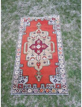 4'4''x7'7'' Ft // 134x225cm Oushak Rug, Vintage Turkish Rug, Lovely Color Oushak Rug, Red And Beige Color Rug, Home And Office Rug, Carpet by Etsy