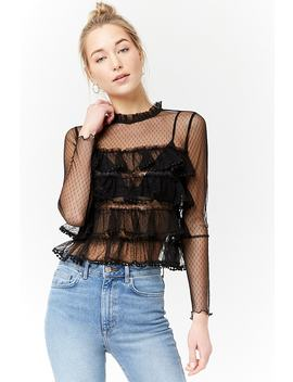 Sheer Mesh Ruffle Top by F21 Contemporary