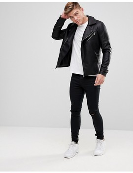 Only & Sons Faux Leather Biker Jacket by Only & Sons