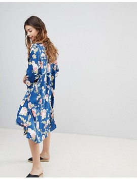 Crescent Floral Print Satin Duster With Front Pockets by Jacket