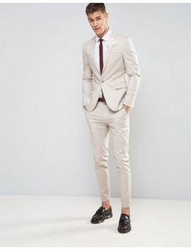 Asos Wedding Skinny Suit In Stretch Cotton In Putty by Asos Brand