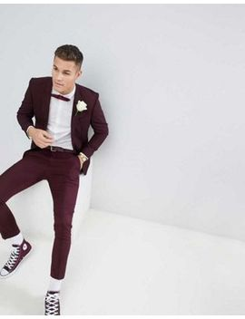 River Island Wedding Skinny Fit Suit In Burgundy by Asos Brand