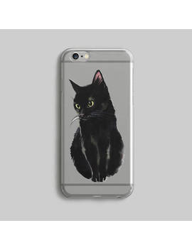 Black Cat I Phone 6 Plus Case, I Phone Se Case, I Phone 7 Cover, I Phone 6 S Phone Case, Case I Phone Cat, Gift For Cat Lovers, Rubber Phone Case by Etsy