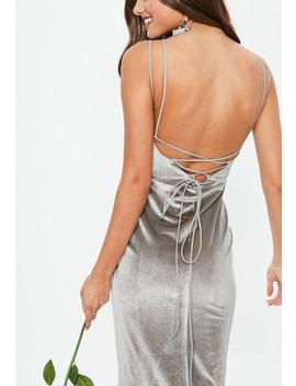 Bridesmaid Grey Velvet Plunge Lace Up Back Maxi Dress by Missguided