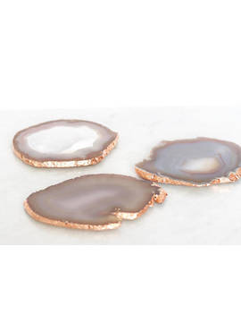 Agate Coasters With Copper Edging. Natural Colours Grey Beige Black. Boho Decor Agate Slice Handmade With Rose Gold Leaf Edging. Bohemian by Etsy