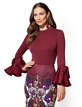 Flounced Sleeve Bodysuit by New York & Company