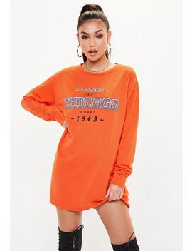 Orange Chicago Graphic Print Oversized Sweater Dress by Missguided