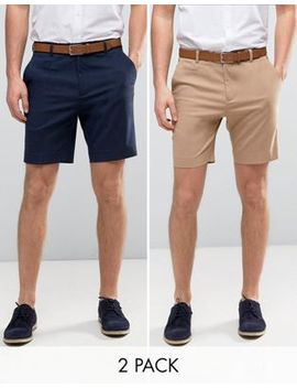 Asos 2 Pack Tailored Slim Shorts In Navy & Stone Save by Asos