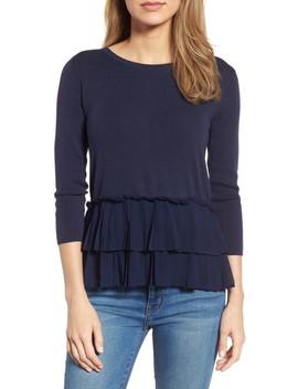 Woven Ruffle Hem Sweater by Halogen®