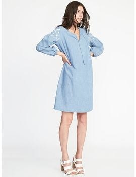 Boho Tassel Tie Chambray Shift Dress For Women by Old Navy