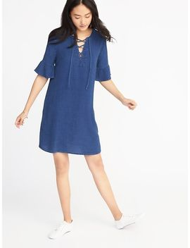 chambray-lace-up-shift-dress-for-women by old-navy