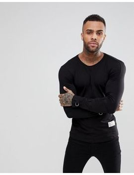 Religion Longline Long Sleeve T Shirt With Tape Sleeves by Religion