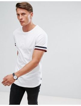 Jack & Jones T Shirt With Stripe Cuff And Curved Hem by Jack & Jones