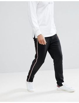 Stradivarius Slim Fit Trousers With Side Stripe Black by Stradivarius