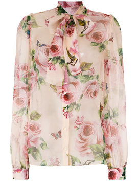 Rose Print Chiffon Blouse by Dolce & Gabbana
