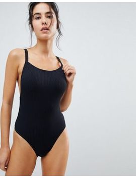 Seafolly Square Neck Ribbed Swimsuit by Seafolly
