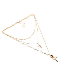 Cross & Pendant Layered Chain Necklace by Sheinside