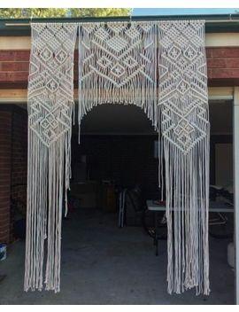 """Macrame Wall Hanging, Curtain Wedding Arch W 70"""" & L 85"""" Dkw#022 by Www.Knittworld.Com"""