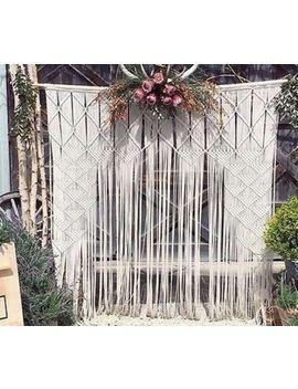 "Macrame Wall Hanging Curtain Wedding Backdrop W 75"" & L 85"" Get Best Decor by Www.Knittworld.Com"