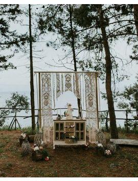 """Macrame Wall Hanging, Curtain Wedding Arch W 75"""" & L 85"""" Dkw#018 by Www.Knittworld.Com"""