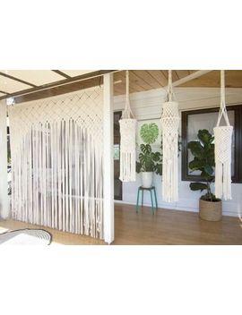 """Macrame Wall Hanging, Curtain Wedding Arch W 75"""" & L 80"""" Dkw#013 by Www.Knittworld.Com"""