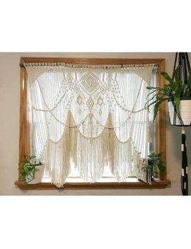 """Macrame Wall Hanging, Curtain Wedding Arch W 45"""" & L 38"""" Dkw#019 by Www.Knittworld.Com"""