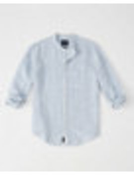 Banded Collar Linen Shirt by Abercrombie & Fitch