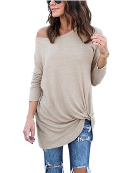 Lookbook Store Women's Casual Soft Long Sleeves Knot Side Twist Knit Blouse Top by Lookbook Store