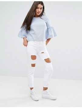 Missguided   Top Rayé à Manches Volantées by Missguided