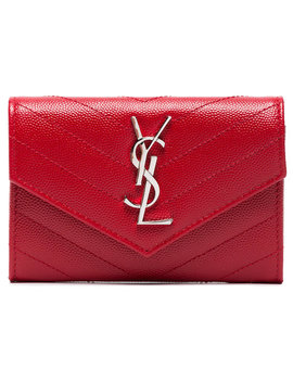 Red Monogram Envelope Leather Wallet by Saint Laurent