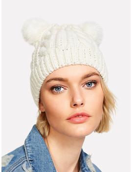 Pom Pom Ear Cable Knit Beanie Hat by Sheinside