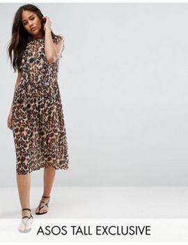 Asos Tall – Gesmoktes Kleid Aus Netzstoff Mit Animalprint by Asos Tall