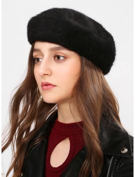 Faux Fur Beret Cap by Sheinside