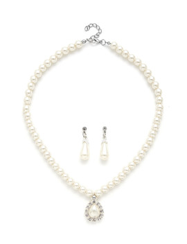 Water Drop Faux Pearl Design Necklace & Earring Set by Sheinside