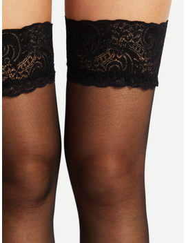 Lace Hem Over The Knee Socks by Sheinside